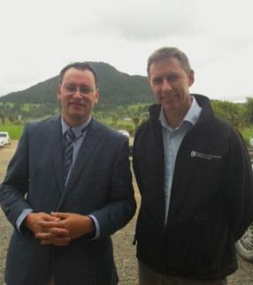 Whangarei MP Dr. Shane Reti and DOC's Geoff Ensor.