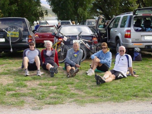 Norm Thornley with family and friends waiting for the Motatapu mountain bike event to start.