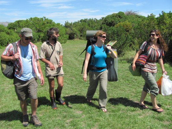 Amy and colleagues on Mana Island.