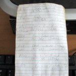 Old manual system using notebooks and hand written information
