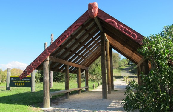 Carved waharoa entrance: Otatara Pa Historic Reserve. Photo: Ellen Fitzsimons.