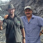 Lou Sanson with the DOC Glacier Ranger cutout.