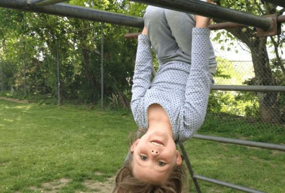 Esme hanging upside down on the monkey bars.