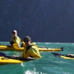 Air New Zealand winners kayaking in Millford Sound.