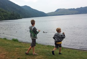 Boys enjoying the lakeside.