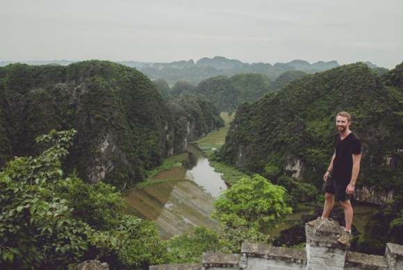 Daniel exploring the limestone karsts of Ninh Binh, Vietnam.