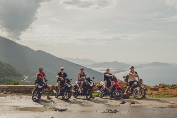 Daniel and friends atop the High-Van pass in Vietnam.