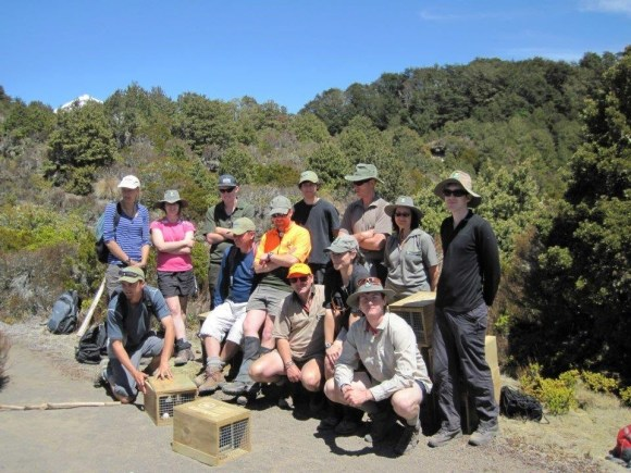 Heather Morison with a team setting up predator traps at Ohinepango Springs.