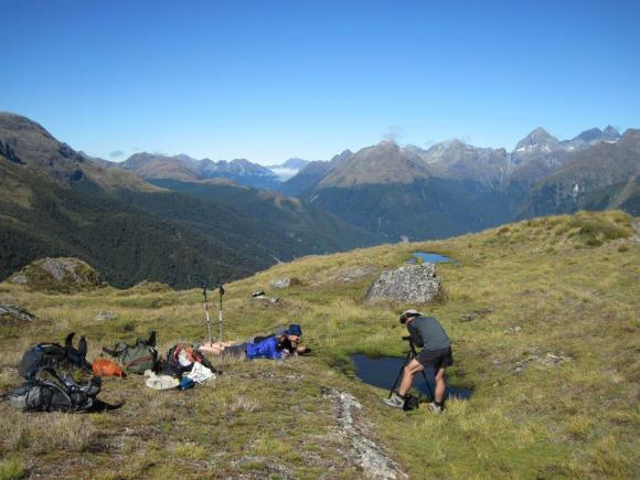 Filming on the Routeburn Track with mountains in the background. Photo: Shelley Hersey.