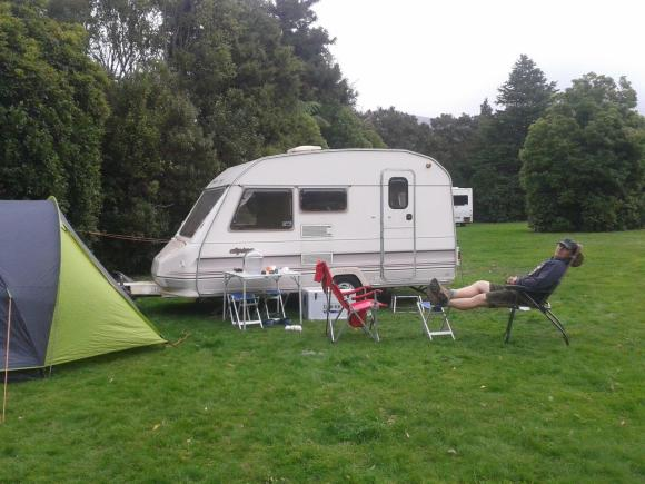 Campsite and cricket pitch at Holdsworth Conservation campsite.