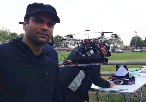 Abhishek at the drone show.