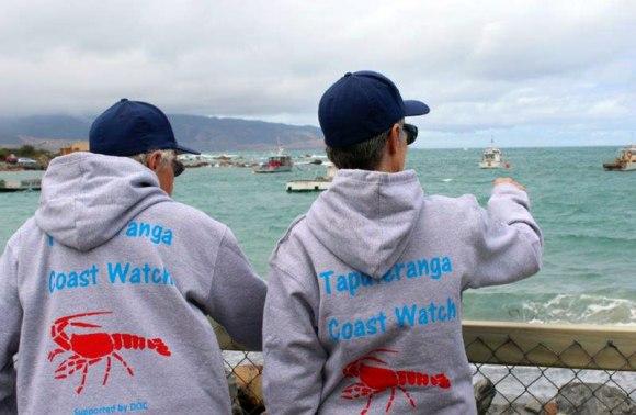 Coast Watch volunteers looking out to sea. Taputeranga Marine Reserve.