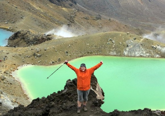 Jo De Lange on the Tongariro Crossing in front of the Emerald Lakes.