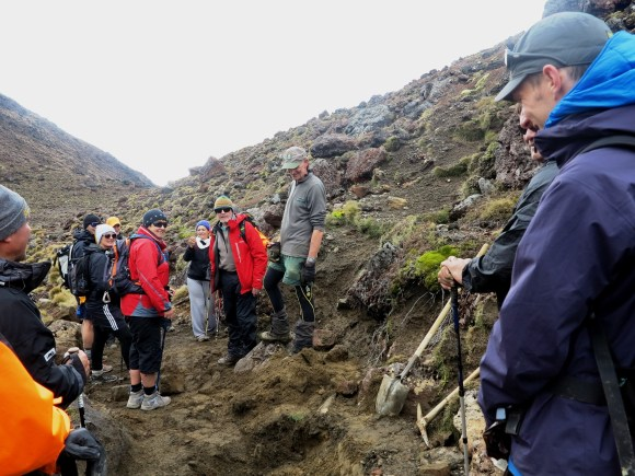 DOC Ranger Boyd Goodwin at work on the Tongariro Crossing track.