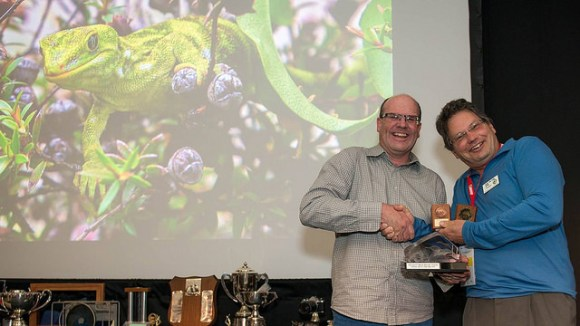 Phil accepting his awards from PSNZ President Murray Cave at the 2015 National PSNZ Conference held in Tauranga