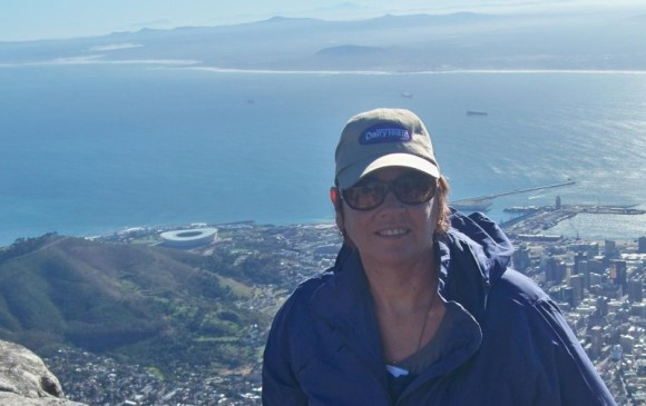 Diane Oliver on South Africa's Table Mountain.