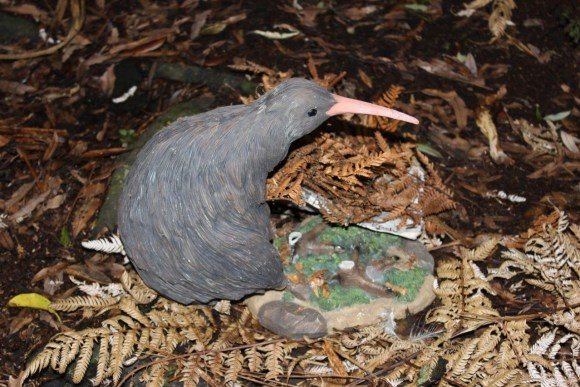 A plastic model kiwi.