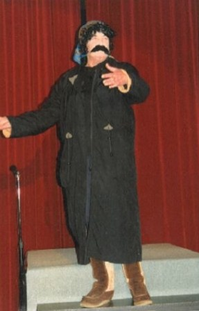 Helen performing at the Chatham Islands theatre.
