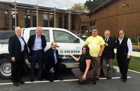 With members of the Te Urewera board in front of one of the newly branded vehicles. From left, Rt Hon Jim Bolger, Dave Bamford, Lou Sanson, Kirsti Luke (Chief Executive of Te Uru Taumatua), Tamati Kruger, Dr John Wood, Jo Breese.