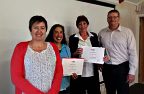 Some of our excellent administators with Dene Robinson.