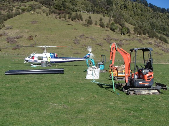 Flying diggers and culverts in to Whanganui National Park.