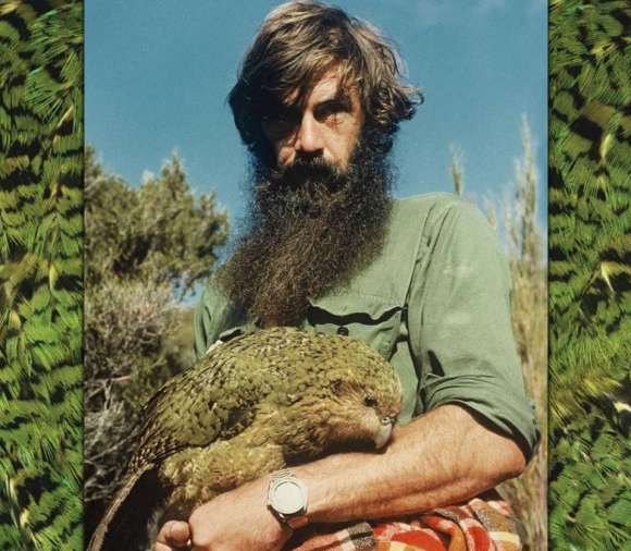 Arab with Mandy the kākāpō, the first female Kakapo seen in the Twentieth Century. Photo: Errol Samuellson.