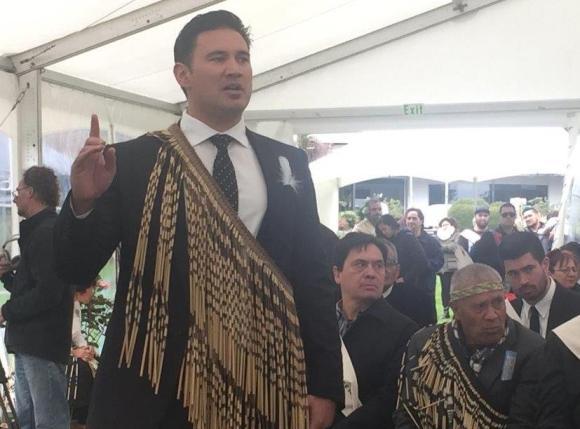 Taranaki iwi lead negotiator Jamie Tuuta speaks at the ceremony.