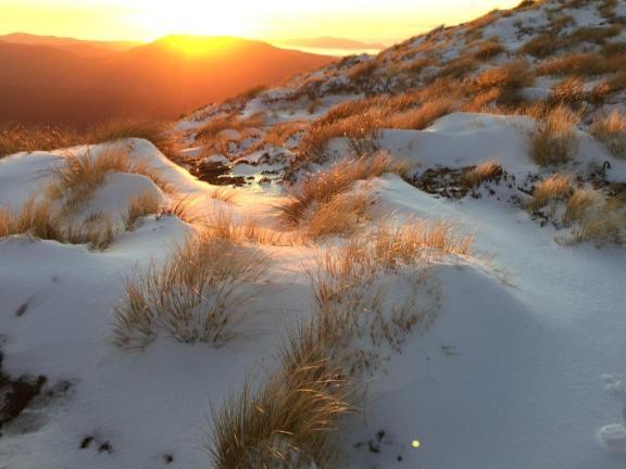 Snow at Kime Hut.