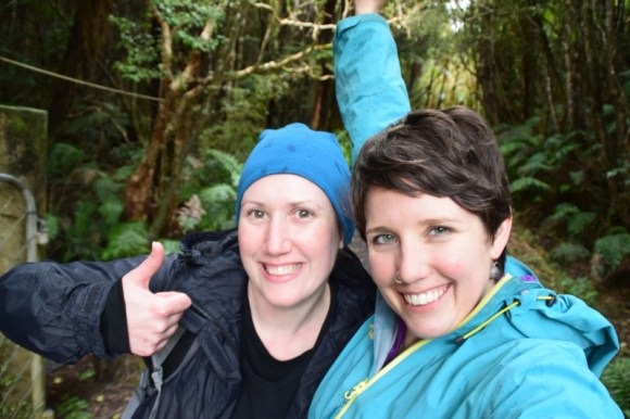 Jennifer Ross and Clair Simpkin on the Rakiura Track. Photo: Jennifer Ross.