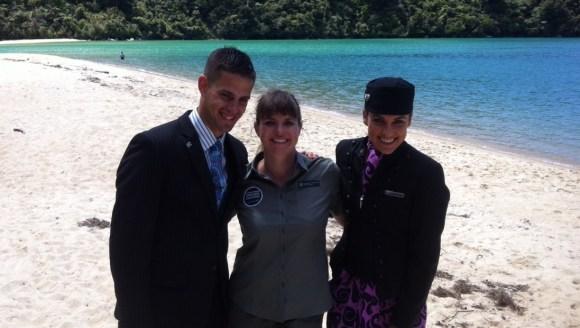 Nicola Toki with the Air New Zealand crew in Abel Tasman.