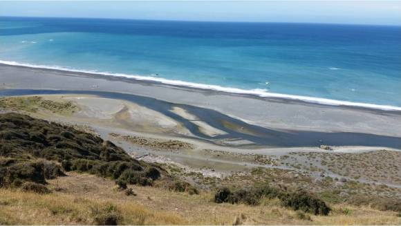 View from lighthouse terraces down to Wainuiomata river mouth. Photo: Paula Warren