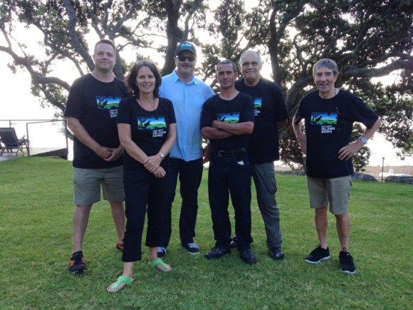 Project Island Song's Richard Robbins and Fleur Corbett, Lou, Guardian of the Bay of Islands committee members Rana Rewha and Richard Witehira, and deputy chair of the group Rod Brown.