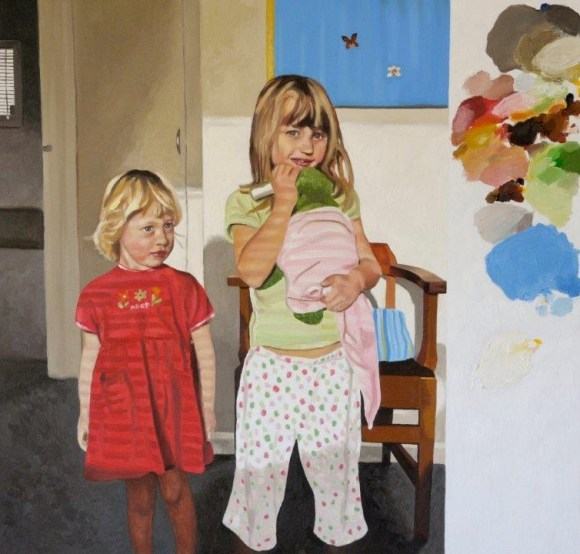 Shane's recent painting of his daughters.