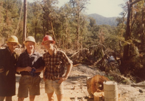 Trevor under the red hard hat during the forest logging days of the 1970's.