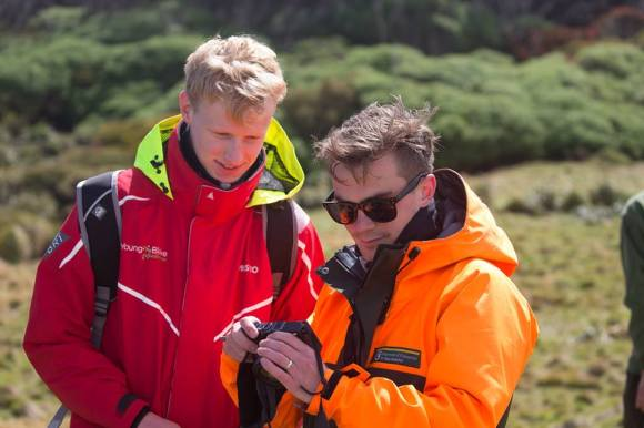 Shay with student voyager Guy McDonald. Photo by Brendon O'Hagan.