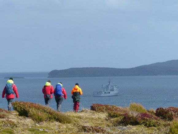 HMNZS Otago in Port Ross as we explore Enderby Island.