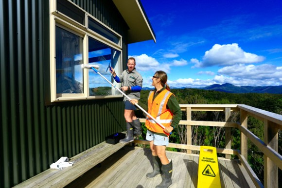 Anja assists fellow hut warden Richard.