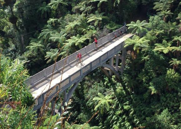 The famous Bridge to Nowhere in Mangaparua Valley.