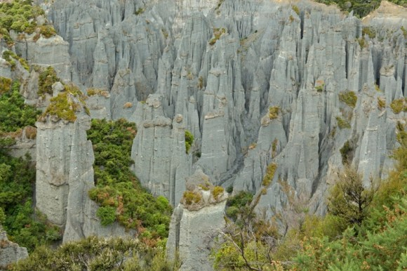 An aerial view of the Putangirua Pinnacles.