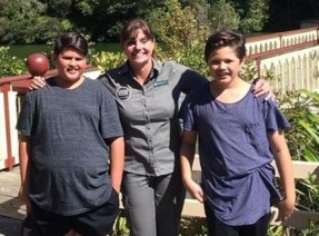 Nicola with Julian and his twin brother Christian at Zealandia.