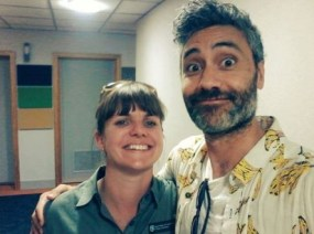 Nicola meeting Taika Waititi.