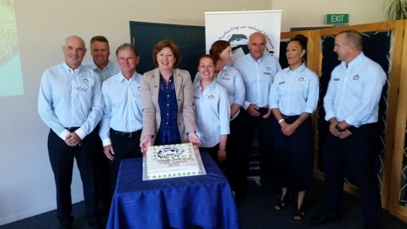 Minister Maggie Barry at the launch of Wild Taranaki with members of the Trust.