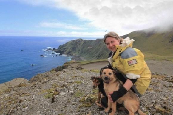 Leona Plaisier with pest detection dogs on Macquarie Island. Photograph: Leona Plaisier.