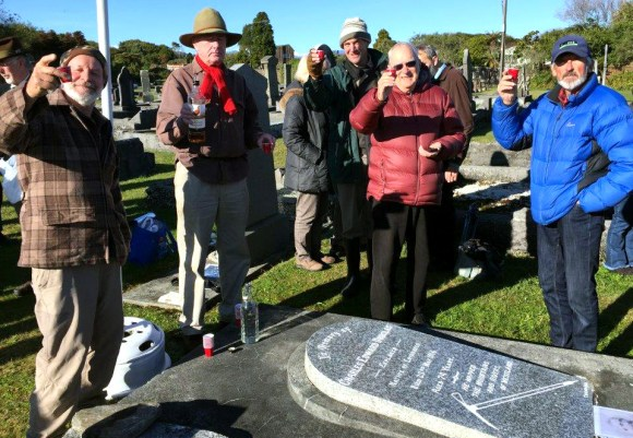 Toasting Charlie Douglas with a 'wee dram' at his gravesite.