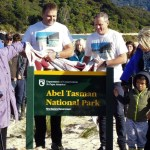 Unveiling the the Abel Tasman National Park sign.
