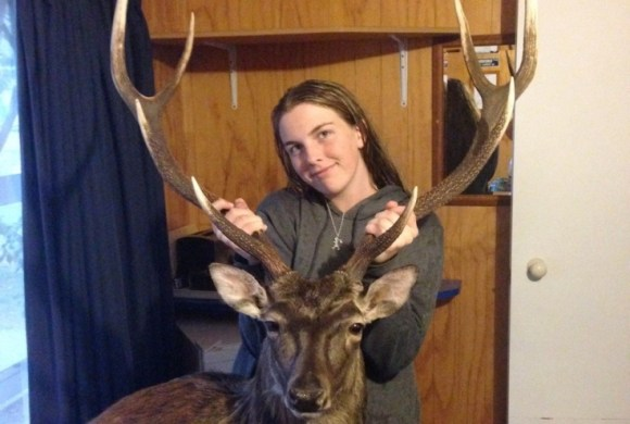 Maz with her dad's prize winning sika.