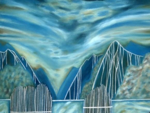 Marilynn Webb, Going through Fiordland – Dusky Sound (2015). Soft chalk pastel on 100% rag paper.