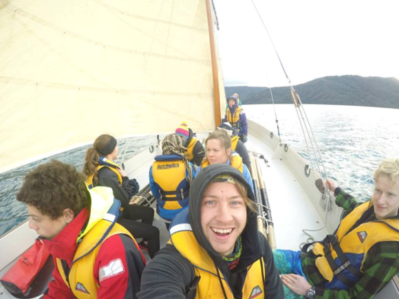 We were all too busy and wet to get any cameras out on the last day of sailing – this was the only picture I could find of the sail up! Thanks Grayson for the awesome selfie.