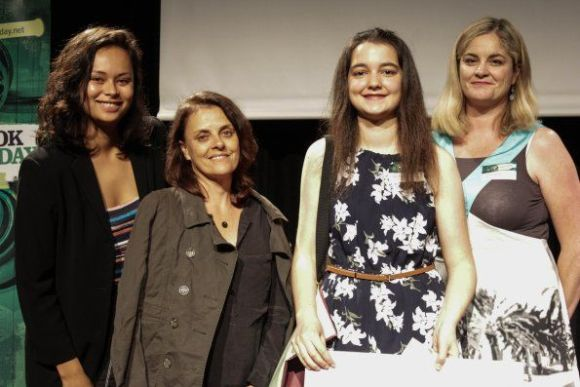 Award winner Sarah Ridsdale (middle right) with Anita Anderson, Education Manager (right) and special guests Frankie Adams (left) and Katie Wolfe (middle left). Photo: The Outlook for Someday
