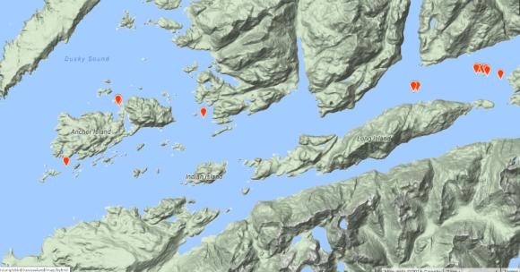 Mottled petrel breeding sites, Dusky Sound. Image: eBird.